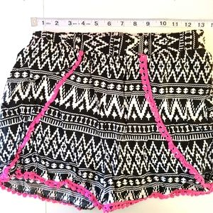 3/$20 Tribal black & white shorts pink Ball accent